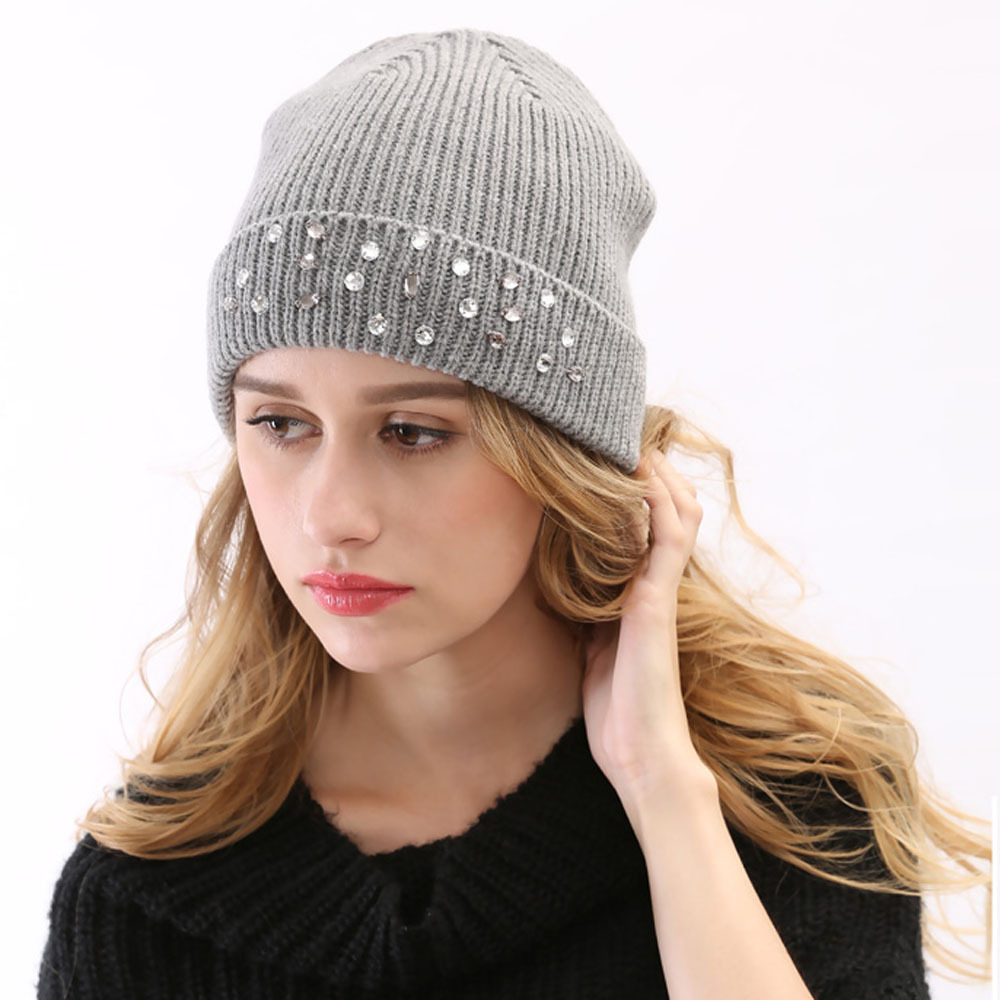 e1662c60678aa Get Quotations · 2015 New Fashion Winter High Quality Knitted Hat with  Rhinestone Diamond for Decoration Red Pink Grey