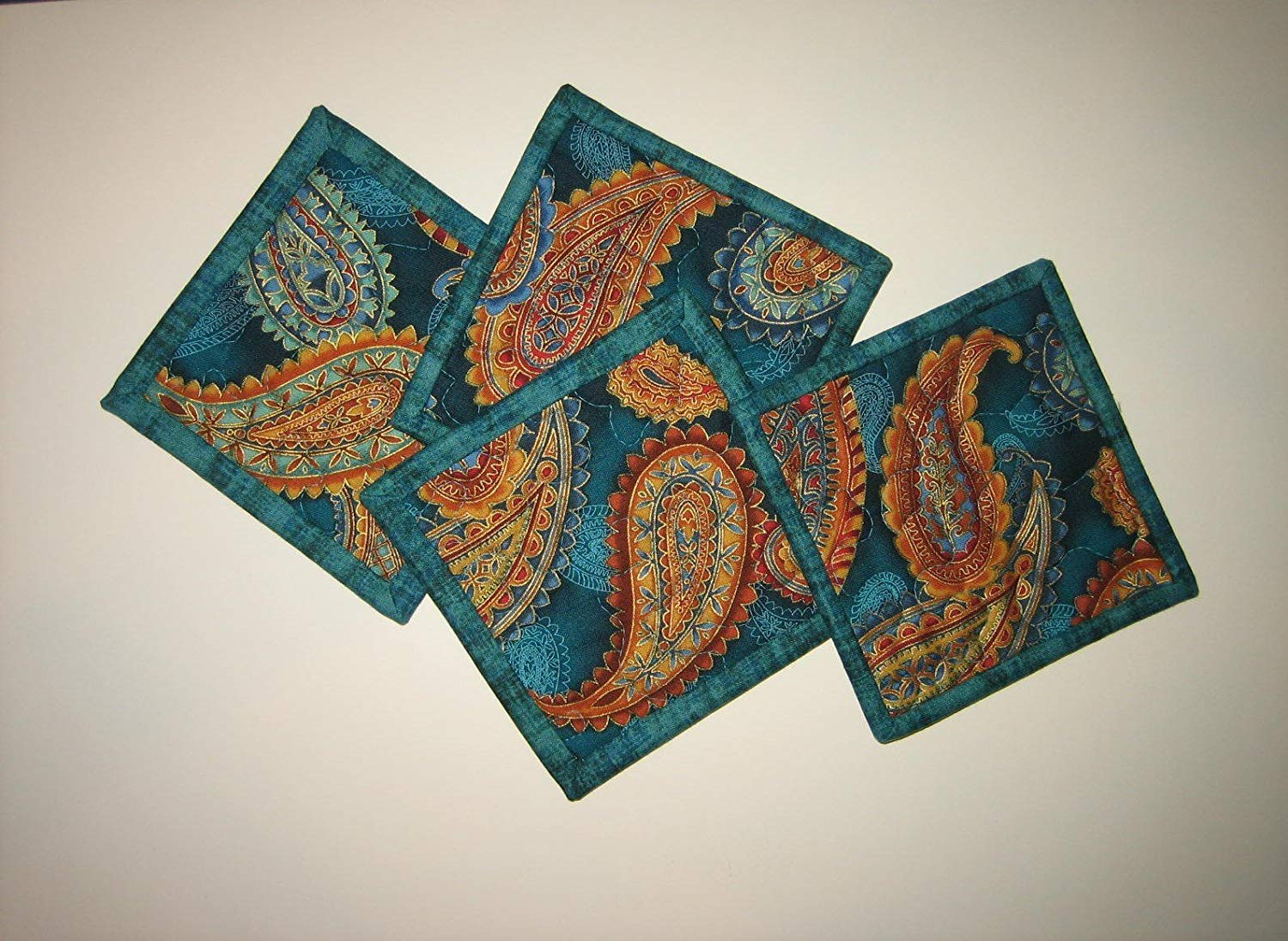 """Fabric Coasters for Drinks, Blue Gold Paisley Quilted Drink Mats, 5x5"""" Handmade"""