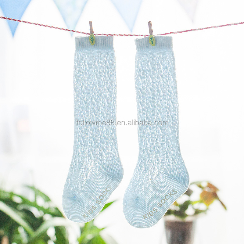 Pure children's twist knit Korean cotton mesh white socks Factory made cotton baby knee high socks
