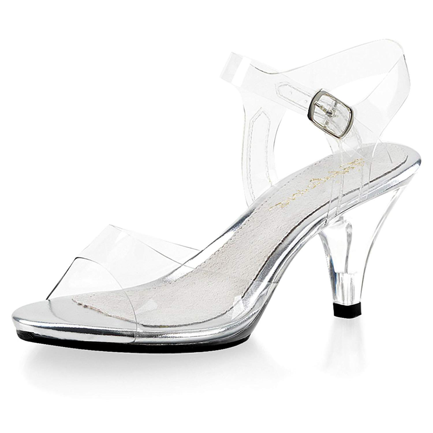 c75c14484dd Get Quotations · Summitfashions Demure and Elegant Women s Clear Strappy  Sandals with 3 Inch Lucite Heels