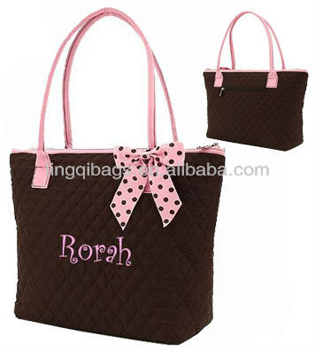 Large Solid Quilted Overnight Pink&Brown Tote Handbags with Gingham Lining Interior and Polka Dot Ribbons