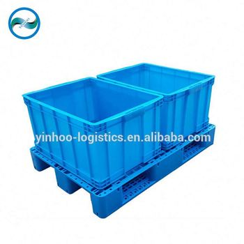 HDPE 3-skids standard plastic pallet made in china used in factory warehouse