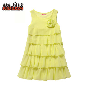 Wholesale Little Girl Chiffon Dress Sleeveless Breathable Healthy Light Cupcake Summer Dress for Kids 4-14 Years