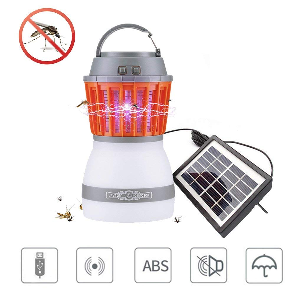 Teepao Bug Zapper, 2 in 1 Camping Mosquito Zapper Light with Solar Panel, Waterproof Fly Trap Zapper - USB & Solar Charging Avaiable - Mosquito Repeller Hanging Lantern for Outdoor & Indoor