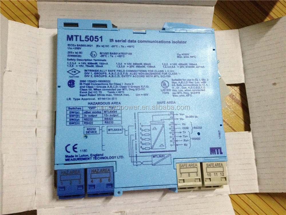 MTL5051 SERIAL-DATA Comms Intrinsically Safe Isolators Barrier