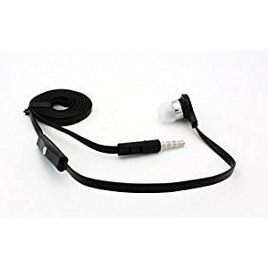 Samsung Galaxy S3 Compatible Flat Wired Headset MONO Hands-free Earphone w Mic Single Earbud Headphone Earpiece In-Ear [3.5mm] [Black]