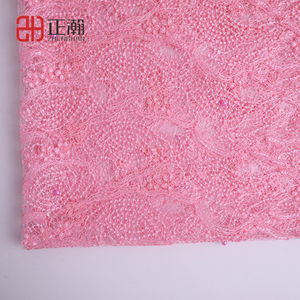 Good Quality embroidery beaded pink lace fabric beaded fabric embroidery