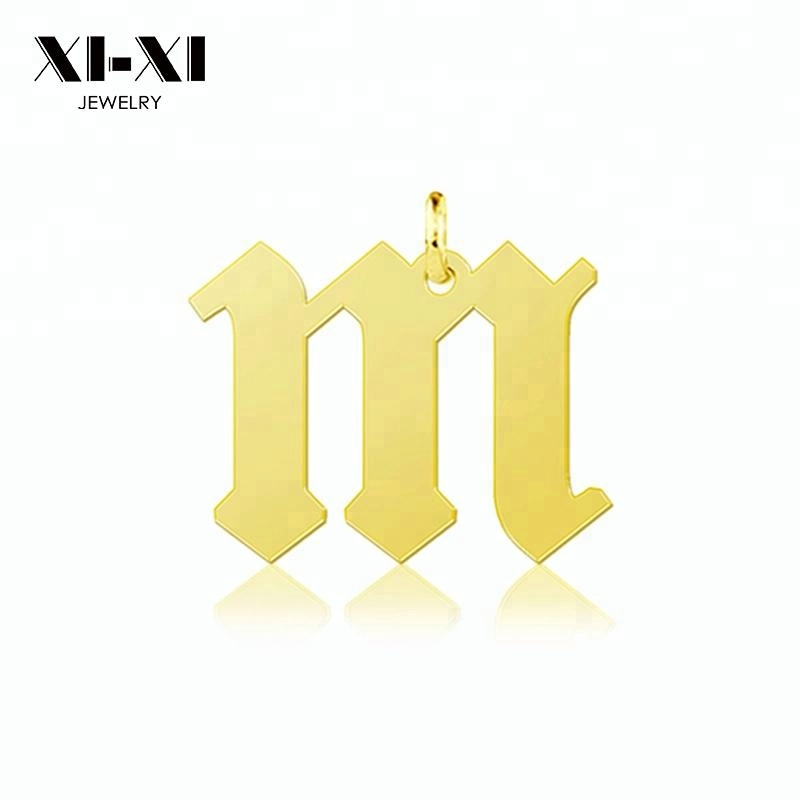 Custom Gold Lowercase Old English Initial Letter <strong>Pendant</strong>