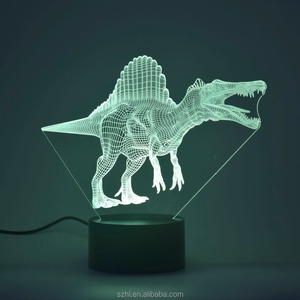 Dinosaur shape acrylic led night lamp 3d children fancy night lights