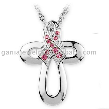 Breast Cancer Awareness Jewelry Pink Ribbon Cross Pendant Necklace