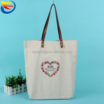 Factory customizable canvas gift tote bag leather handle
