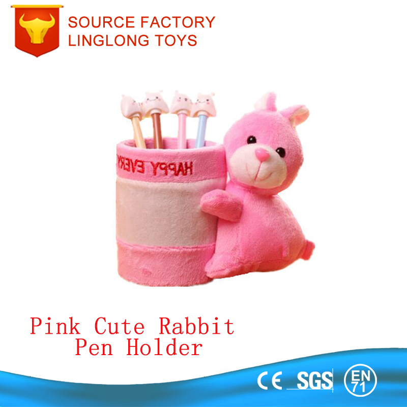 Lovely Pink Rabbit Plush Pencil holder Stuffed Toy Animal Pen Container Pen Holder