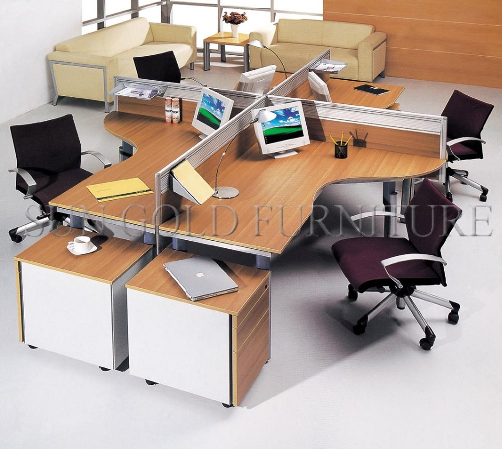 Modern elegant round workstation wooden workstation for 4 for Office desk layout