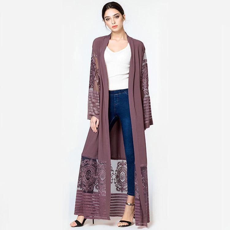 Islamic clothing elegant pink muslim fashion front open dubai abaya 2020 kimono