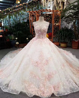 Illuminated Pink Wholesale Ball Gown Sleeveless Turkey Floor-Length Wedding Dress
