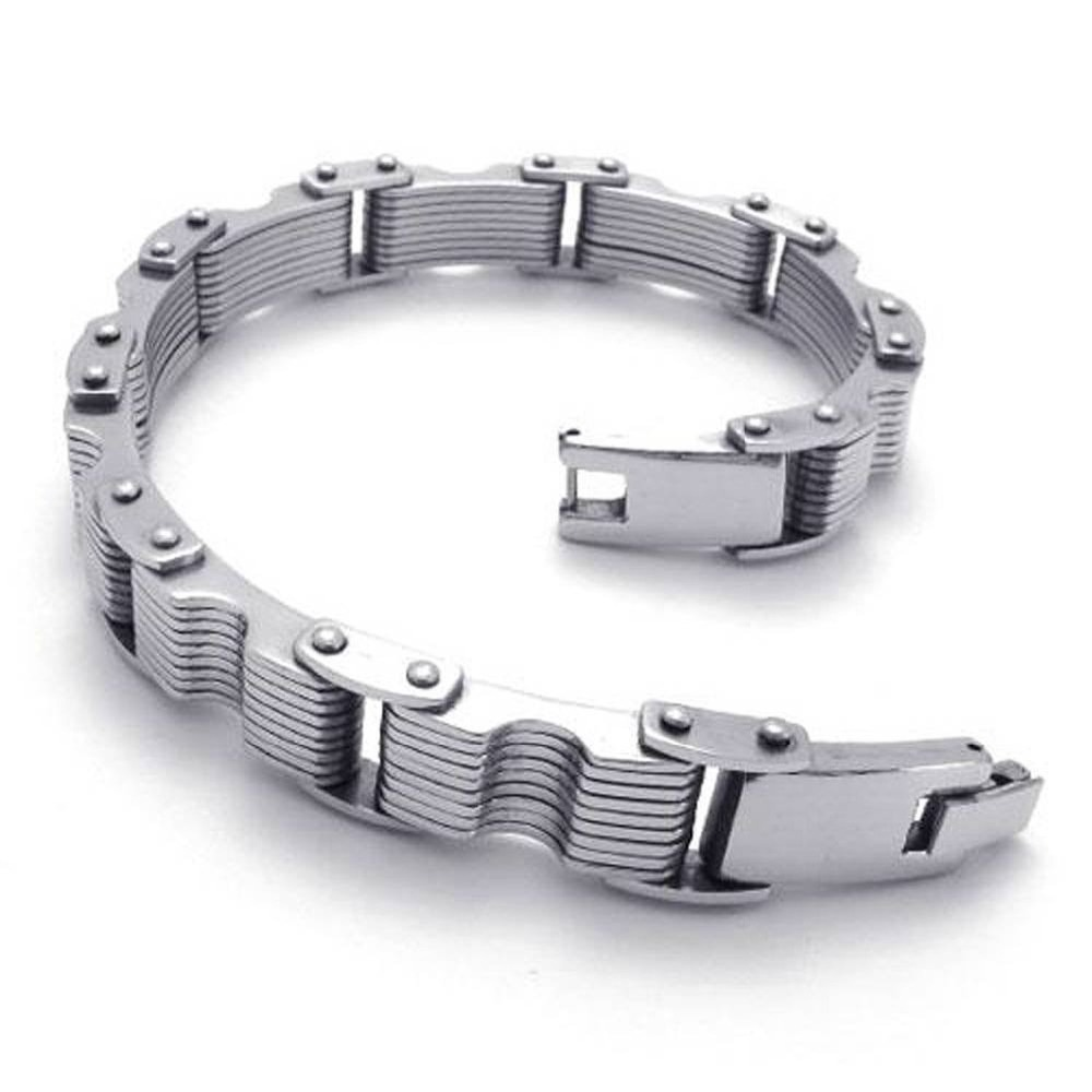 Hot Selling High quality Prince Charming All-Purpose Style Overlapping Silver Steel Bracelets Width:23mm Length:(22.9.cm)