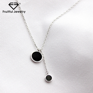 Wholesale Luxury Silver Jewelry 925 Sterling Inlay Black Crystal Pendant Necklace