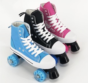 Outdoor PU wheel 2 back wheel 2 front wheel canvas high quality skating rink Roller Quad Skates on sale