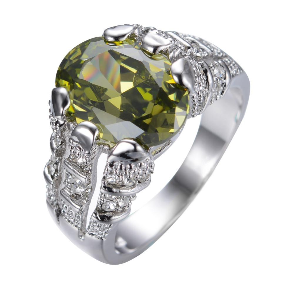 Aliexpress.com : Buy Male Peridot Ring White Gold Filled