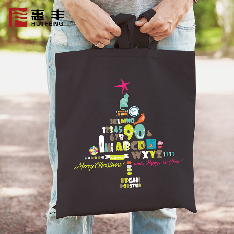 Black Custom Grocery Tote Bag With Custom Print Logo ,Black Cloth Bag