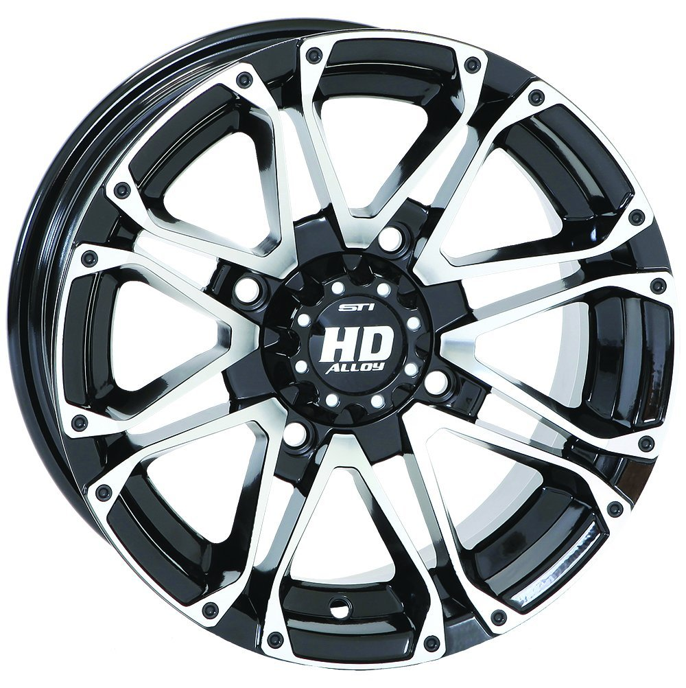 4/156 STI HD3 Alloy Wheel 12x7 4.0 + 3.0 Black Machined KTM POLARIS YAMAHA