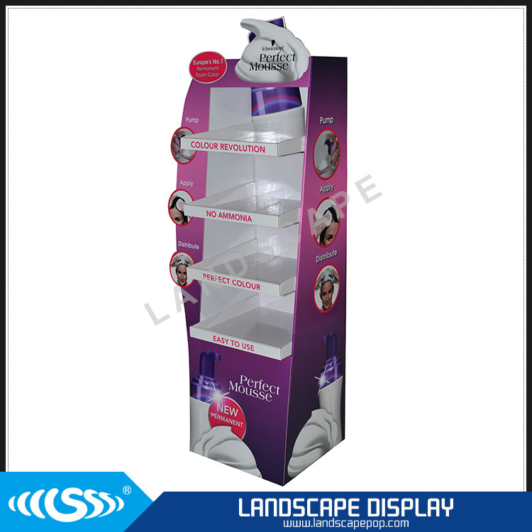 Custom made cardboard floor store display / display stand for blister packages / customized shopping display