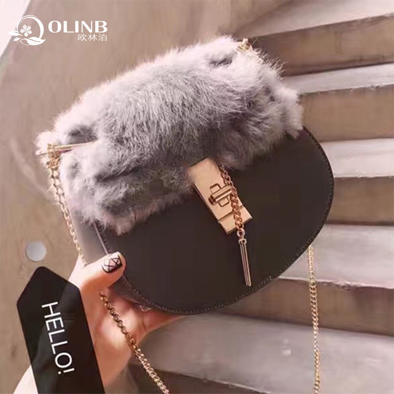 Fashion Amazon 2017 Custom Lady Women Cross Body PU Leather Fake Fur Bag Shoulder Bag Simple Factory In China