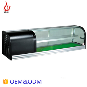 Guangzhou commercial Double Deck Showcase sushi display cabinet