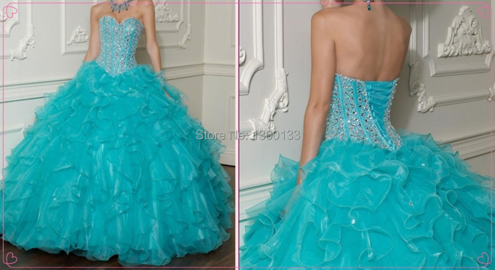 Teal Quinceanera Dresses 2013 Beading Quinceanera Gown