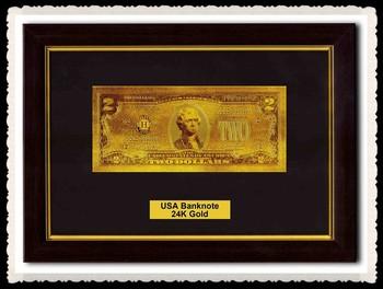 Business Geschenk Us 2 Dollar 24 Karat Goldfolie Banknote Mit Holz