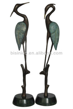Bronze Crane Heron Sculpture PairGarden ArtOutdoor Decor Buy