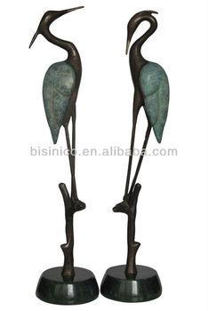 Bronze Crane Heron Sculpture PairGarden ArtOutdoor Decor Buy