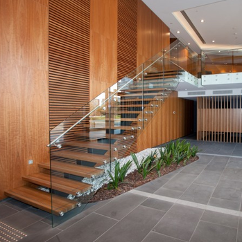 Indoor L Shaped Steel Wood Staircase /oak Stair Stringers