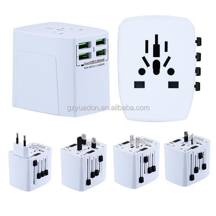 Blue US//UK//EU//AU Travel Adapter Charger 4 USB Charging Port Power Strip Socket