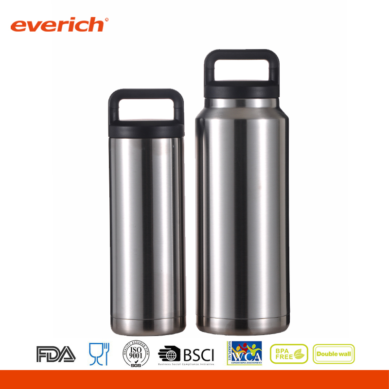 Everich vacuum insulated stainless steel water bottle with black handle