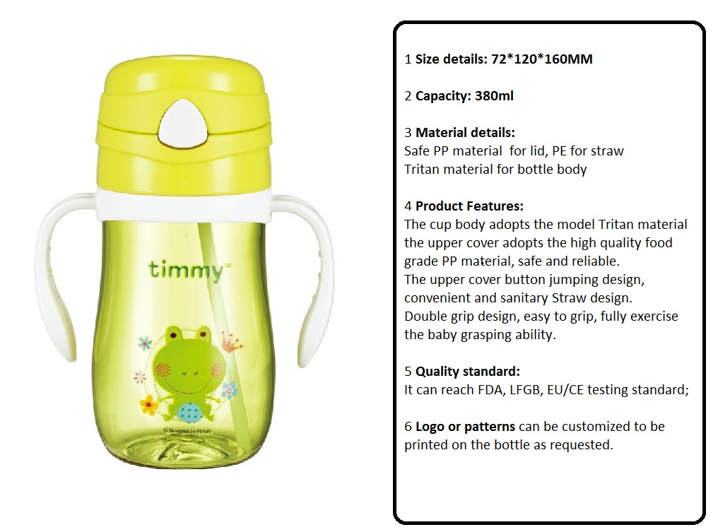 PINKAH 2019 new arrival baby bottle BPA free tritan plastic 360ml non-spill baby sippy cups training cup
