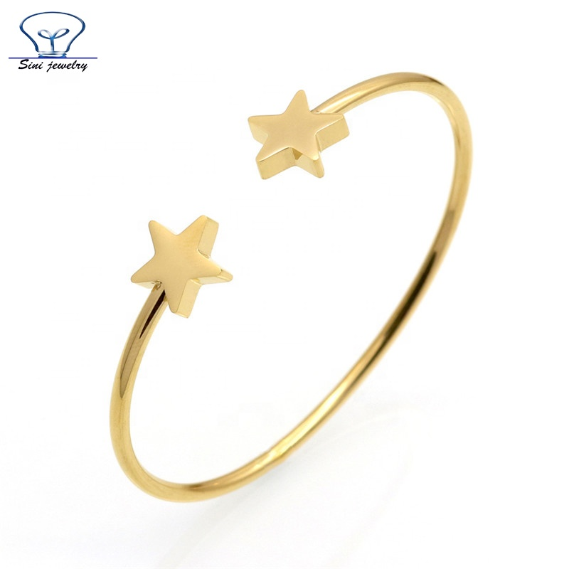Fashion customized Jewelry simple star heart shape 14K gold cuff bangle models Design Latest Design Girls Gold Bangles, Various colors is avaliable