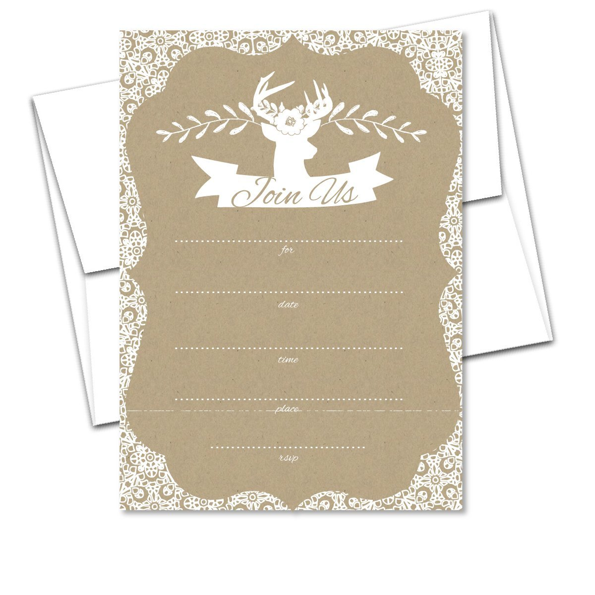 Cheap online wedding invites find online wedding invites deals on get quotations blank invites 10 pack rustic floral lace white on kraft shower fill in invitations with envelopes filmwisefo