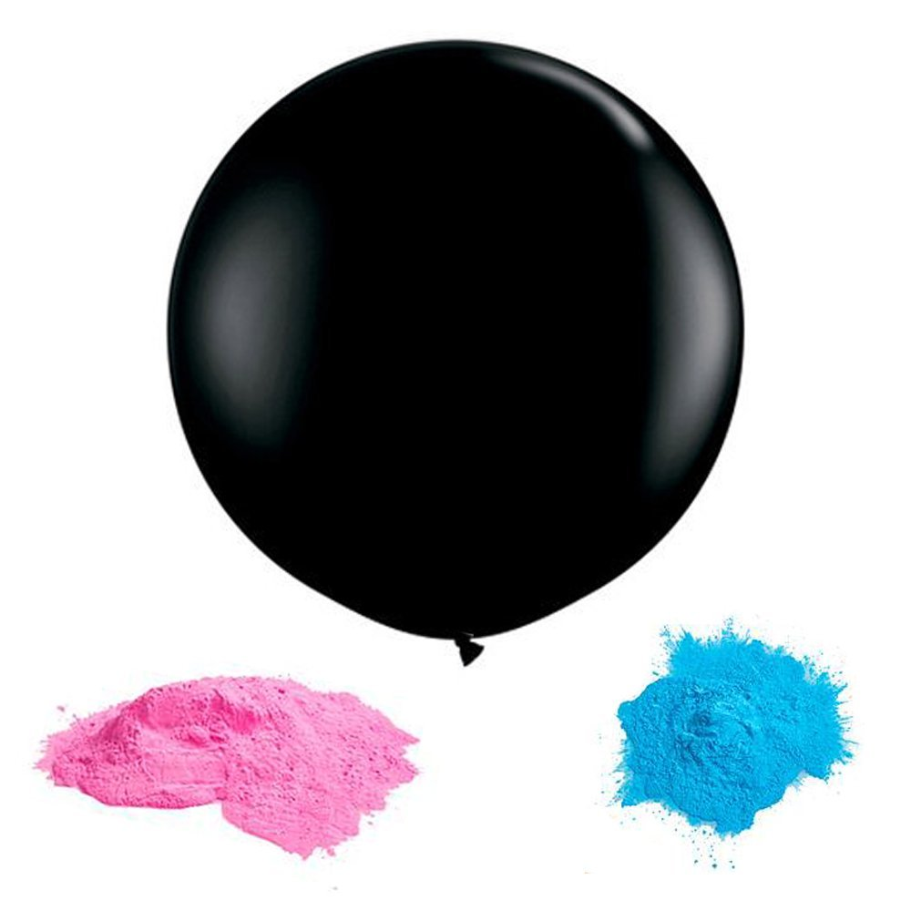 "Black Gender Reveal Balloon with Baby Gender Reveal Powder (Pink and Blue) - Includes a Jumbo 36"" Black Balloon - Great Gender Reveal Party Supplies Balloon for Baby Showers"