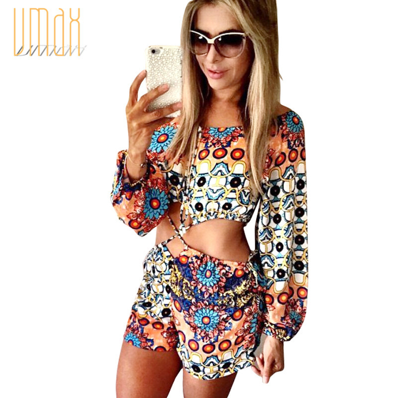 Sexy Clubwear Vintage Tribal Baroque Boho Floral Print Plus Size Rompers Womens Jumpsuit Beach Bodysuits 2015 Autumn B1508091