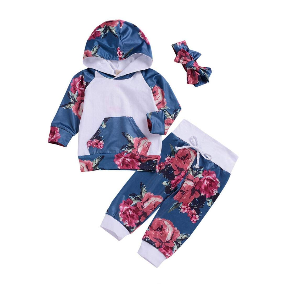 3Pcs Newborn Infant Baby Boy Girl Floral Hoodie Tops Print Pants Outfits Set Clothes