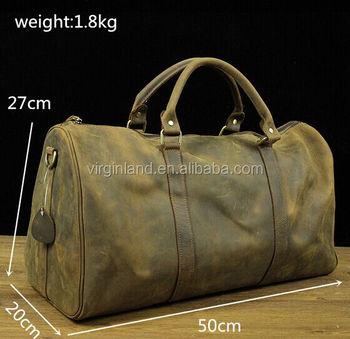 Latest Design Huge Vintage Genuine Leather Weekend Bag Travel For Men Bags