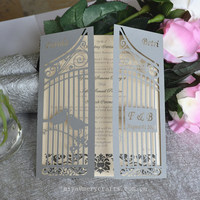 personalised cage love invitation cards silver wedding party paper