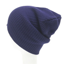 Wholesale custom 100 acrylic sports navy thick yarn knit beanie