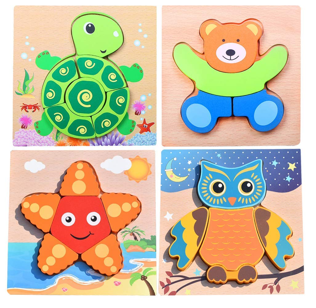 bbb711f6fa28 Get Quotations · Leaflying Wooden Puzzles for Toddlers