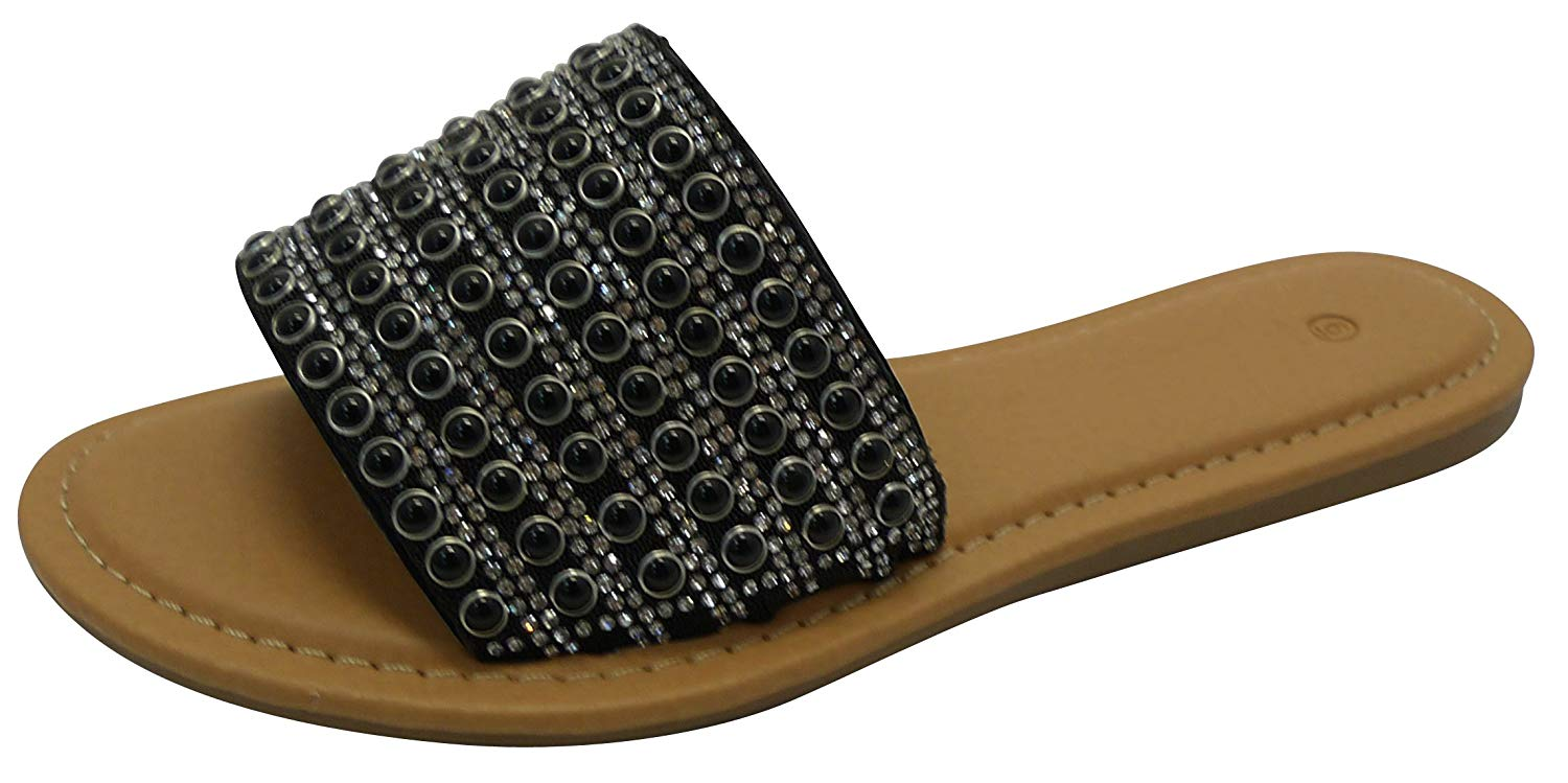 cad942781bc57 Get Quotations · Cambridge Select Women s Slip-On Faux Pearl Crystal  Rhinestone Open Toe Flat Slide Sandal