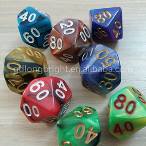 Mixed Color Polyhedral Plastic Full 7- Dice Standard Set