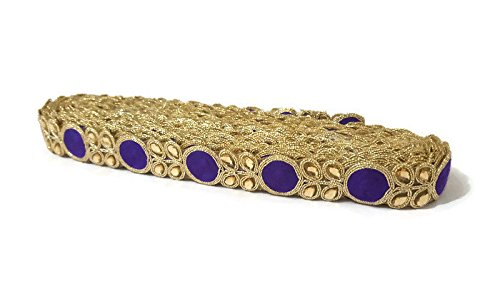 Kundan Golden Lace Purple Saree Border Indian Kundan Embellishment Sari Border Scarf Dupatta Border-Width 2 cm-Price for 1 Yard-IDL257
