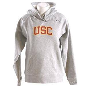 Usc Trojans Womens Hooded Sweatshirt - Usc Arched - By Champion - Oxford Heather