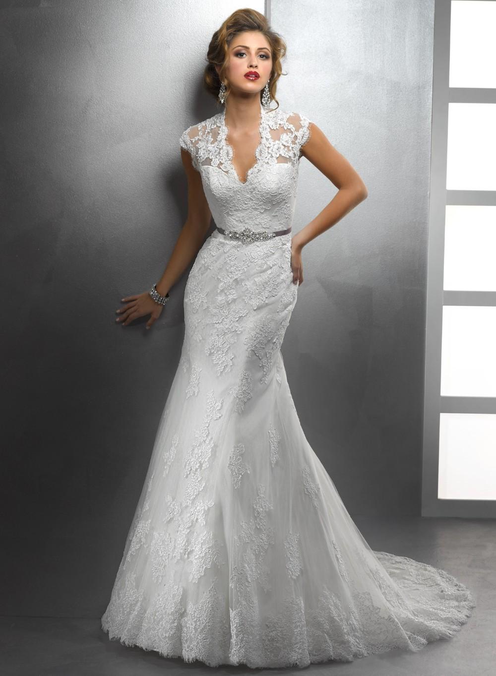 2015-Vestidos-Elegant-Design-V-Neck-Cap-Sleeve-Appliqued ... Lace Mermaid Wedding Dress